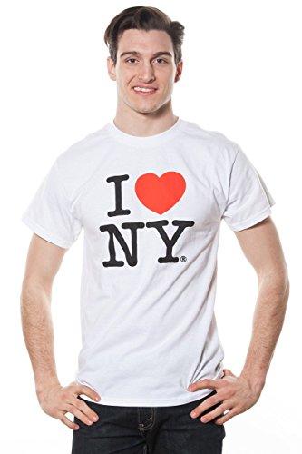 I Love NY Mens Short Sleeve T-Shirt White (Medium)