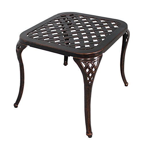 Cheap HOMEFUN Patio End Table, Outdoor Side Table Cast Aluminum Metal Furniture by (Antique Bronze)