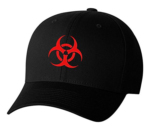 Biohazard Symbol Zombie Outbreak Embroidered Baseball Cap Hat - Black - OSFA -