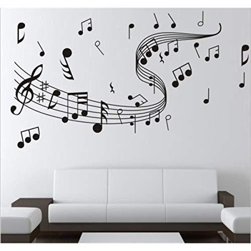 Forniture per ufficio moderne Adesivo murale di simboli musicali Decalcomania per la decorazione di pareti in vinile impermeabile rimovibile nero Ideale per l'uso in ufficio Sun Glower