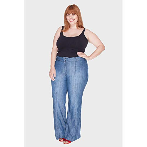 Calça Pantalona Maly Destroyed Plus Size Azul-50