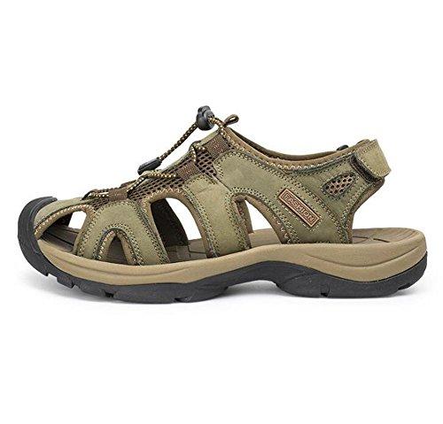 Hombre Genuino Velcro Cerrado Playa al Khaki Sandalias 45 de Respirable EU39 38 Cuero Antideslizante Caminar Verano Diapositivas Libre Aire eu41 Viaje NSLXIE Tobogán Tamaño a de Zapatos xYwzEYaq