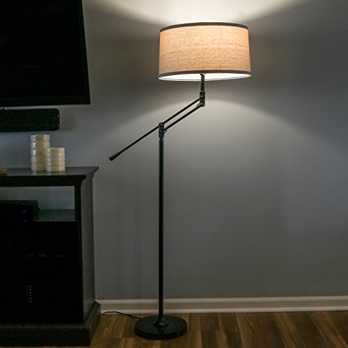 Brightech Ava LED Floor Lamp for Living Rooms - Standing Pole Light with Adjustable Arm - Office and Bedroom, Bright Reading Downlight with Drum Shade - Black by Brightech (Image #2)