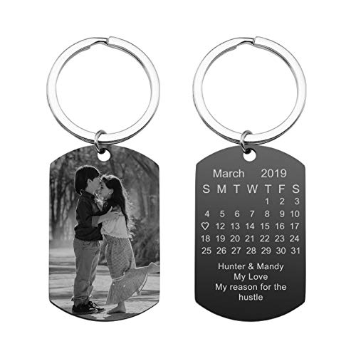 Personalized Master Custom Special Date Calendar/Photo/Text Customized Picture Military Dog Tag Pendant Keychain Keyring for Men Women Anniversary Birthday Gift (Personalized Picture Keychain)