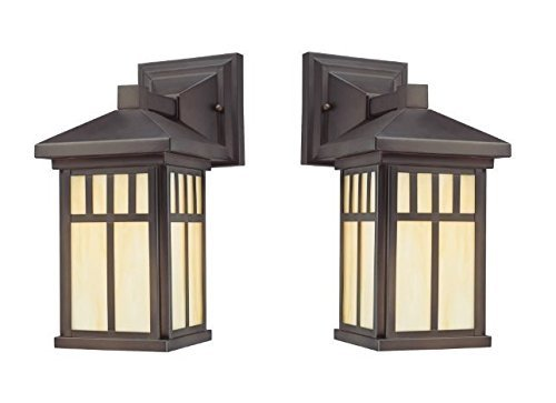 Wall Lanterns | Weather-Resistant Outdoor Lamps | Decorative Scroll Sconce Arm, Scalloped Edges & Clear Beveled Glass for Front Porch, Backyard & Gardens (Oil Rubbed Bronze Finish - 2 Pack) ()