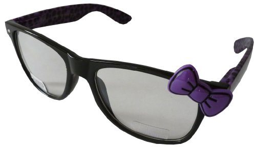 Sanrio Hello Kitty Cheetah Print Style Designer Inspired Wayfarer Perscription Clear Lens Glasses - Black/Purple with Purple - Print Bans Cheetah Ray