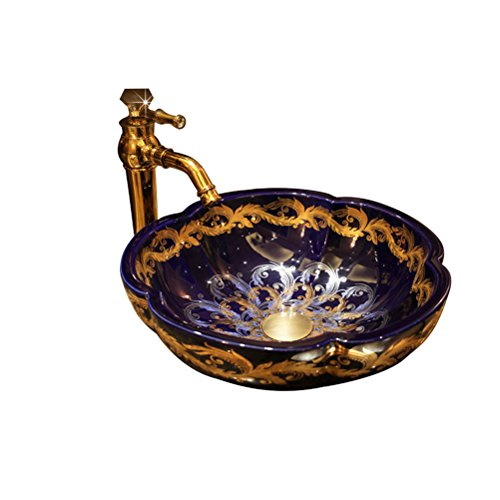 GYZ Bathroom Sink Table with Petal Shaped Art Basin Ceramic Washbasin Bathroom Wash Basin,40X14cm Bathroom Sink