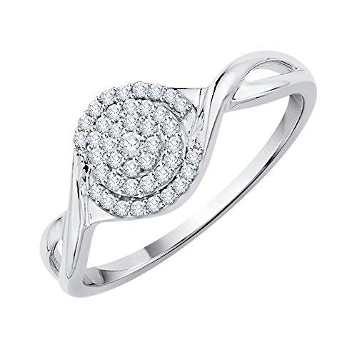 - KATARINA Diamond Cluster Ring in 14K White Gold (1/6 cttw, G-H, I2-I3) (Size-6.5)