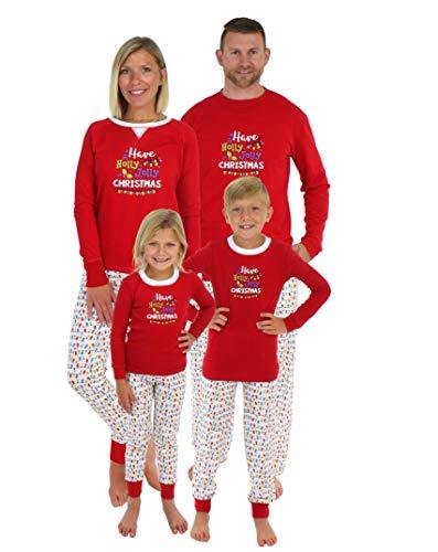 Sleepyheads Family Matching Holly Jolly Christmas Lights Pajama PJ Sets - Kids (SHM-5010-K-8)