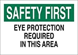 Brady 10'' X 14'' X .06'' Black/Green On White .0591'' B-401 Polystyrene Office And Facility Sign''EYE PROTECTION REQUIRED IN THIS AREA''