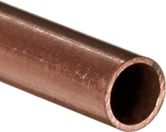 "Copper C122 Seamless Round Tubing, 1/16"" OD, 0.0345"" ID, 0.014"" Wall, 36"" Length"