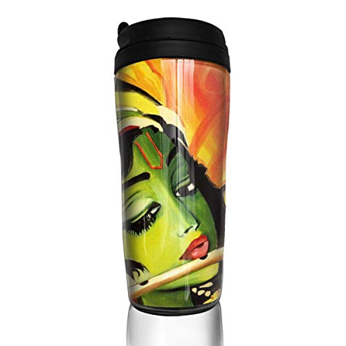 Rundehuahui Travel Coffee Mug Indian Art Painting Insulated Thermos Stylish Portable Flask Car Cup,Accompanying Drink Bottle for Milk Water Tea,Keep Warm/Cold
