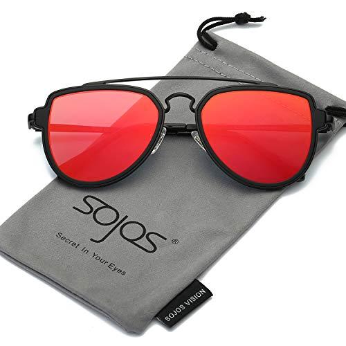 SOJOS Fashion Aviator Unisex Sunglasses Flat Mirrored Lens Double Bridge SJ1051 with Matte Black Frame/Red Mirrored -
