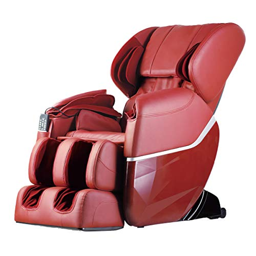 Zero Gravity Full Body Electric Shiatsu FDA Approved Massage Chair Recliner with Built-in Heat Therapy and Foot Roller Air Massage System Stretch Vibrating for Home Office PS4,Burgundy