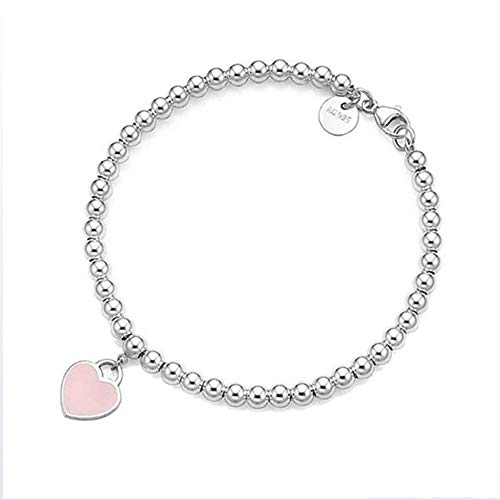 Z&HA 925 Sterling Silver Dangling Heart Charm Bead Bracelets, Charm Blue Pink Red Enamel Finish, Jewelry Gift for Women and Teen Girls,03,17 ()