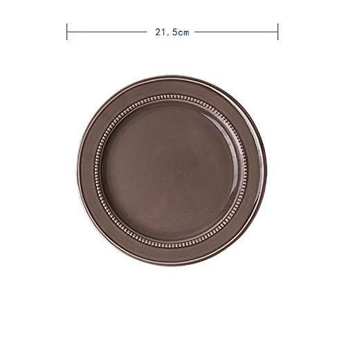 FGSLW Salad Plate, French Ceramic Fruit Plate, Western Restaurant Steak Plate, Dessert Plate, Flat-bottom Hotel Pasta Plate (Color : 21.5cm, Size : Set of 6)