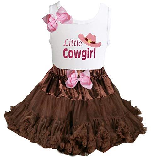 Cowgirl Tutu - Kirei Sui Brown Pettiskirt & Little Cowgirl Tee X-Small White