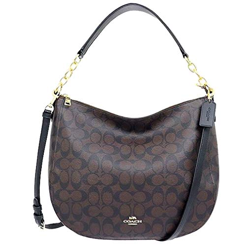 COACH ELLE HOBO IN SIGNATURE CANVAS BAG HANDBAG (Black/Brown)