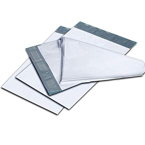 100 Pack #4 10 x 13 Inch Oknuu Packaging Supplies White Poly Mailers Self-Sealing Shipping Envelopes Plastic Mailing Bags 2.5 Mil Thickness 10