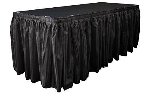 LA Linen Bridal Satin Pleated Table Skirt with 10 Large Clips, 14-Feet by 29-Inch, Black (Round Pleated Skirt)