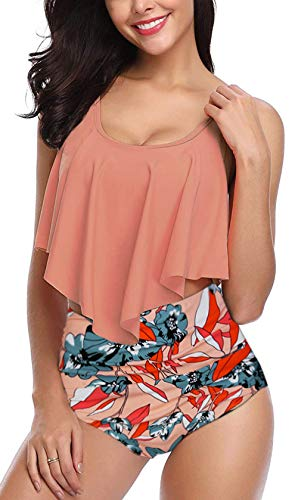 Fancyskin Swimsuits for Women Bathing Suits Top Ruffled High Waisted Set Orange L