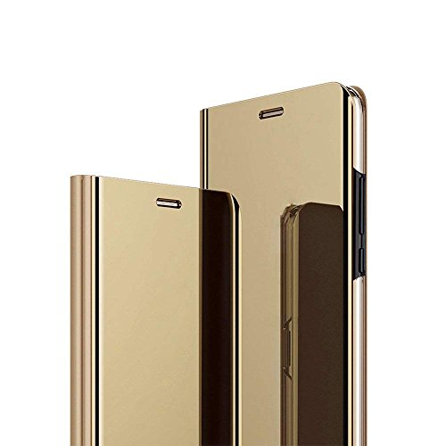 AIsoar iPhone Xs Max Case, iPhone Xs Max Cover with Stand Mirror Flip Slim Mirror Case flip Folio Full Body Protection Shockproof Non-Slip Scratchproof Cover Compatible iPhone Xs Max 6.5 inch (Gold)