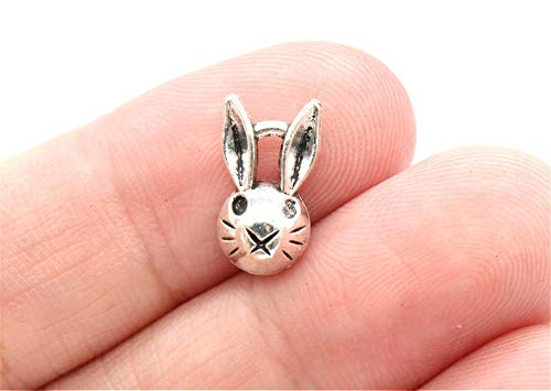 - 12 Pcs Bunny Rabbit Head Charms Antique Silver Tone 8x14mm - YD2429