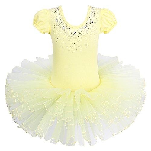 BAOHULU Kids Leotards for Dance Short Sleeve Rhinestone Ballet Tutu Dress for Little Girls 3-8 Years -