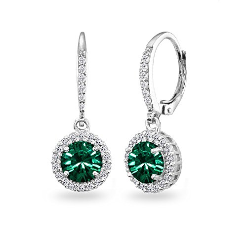 (Sterling Silver Green Round Halo Dangle Leverback Earrings Made with Swarovski Crystals)