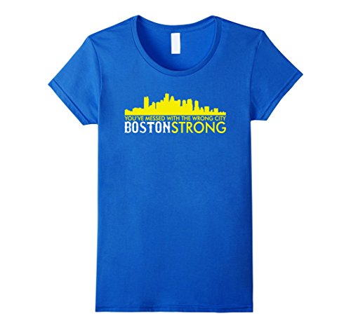 Women's You Messed With the wrong city Boston Strong t shirt Small Royal Blue (Marathon Tshirt)