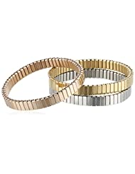Stainless Steel Set Of Three Tricolor Stretch Bracelets, 2.25""