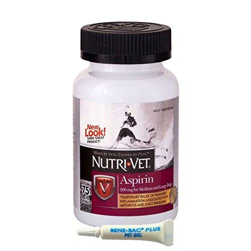 (Nutri-Vet K-9 Aspirin 300mg Chewables for Large Dogs, 75ct (1-Pack w/Gel))