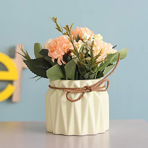 XIAOHONG Flores artificiales en maceta, diseno europeo, hortensias de seda, arreglos para bonsai, casa, oficina, restaurante, mesa, centros de mesa, decoracion de alfeizar