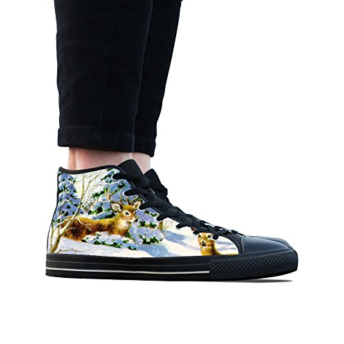 Canvas Schoenen, Custom Olieverfschilderij Herten Hoge Top Dames Zwart Klassieke Casual Mode Canvas Sneakers