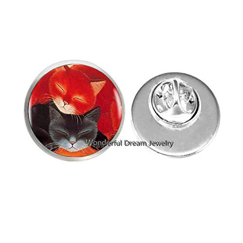 Red Black Sleeping Cats Pin Choker Statement Brooch for Women Dress Accessories Glass Cabochon Jewerly,PU249 (Silver)