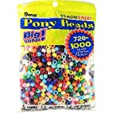 Pony Beads Multi Color 9mm 1000 Pcs in Bag: more info
