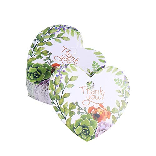 100pcs Heart Shape Floral Gift Tags Hanging Tags Paper Package Tags Labels Wedding Favor Tags - Thank You