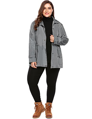 Zip Hooded Anorak - Zeagoo Women Plus Size Lightweight Windbreaker Full-Zip With Hooded Waterproof Anorak Coat,Grey,14 Plus
