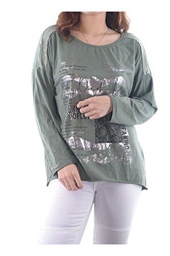 Couleurs 88702 Vert Plaine Automne Tops Femmes 3 Printemps Sexy Shirts Italie Vintage Abbino art Plusieurs Manches Été Casual Khaki Elegante Confortable Longues En Transition Langarm Fabriqué Ig009 Filles 6ZgwxFwvq