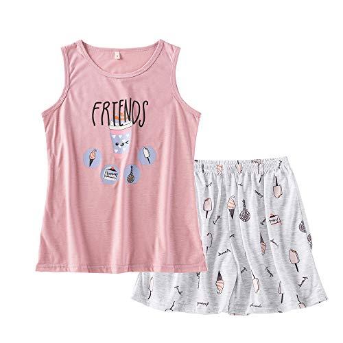 Big Girls Summer Pajamas Set Cute Tank Top and Shorts Cotton Night Teens Sleepwear Size 12-18 (M=Size 12, Pink Friends(Ice - Pajamas Tank Girls