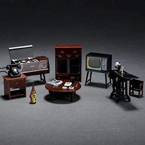 Brosco Japanese Style Miniature Vintage Furniture Cabinet Set for 1:24 Scale Dollhouse (Shingle Apparel)