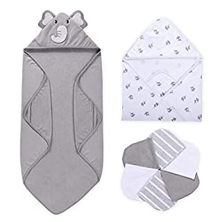 Baby Hooded Towel, Momcozy 8-Piece Baby Bath Towel for Boys or Girls, Baby Towel and Washcloth Set with Cute Elephant Design, Baby Shower Towel Gift for Newborns, Infants and Toddlers