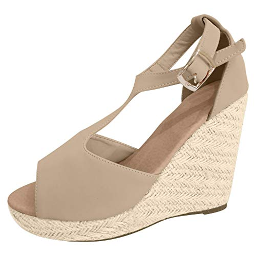 【MOHOLL 】 Womens Wedges Ankle Strap Closed Toe Heeled Sandals Casual Rubber Sole Studded Open Toe Sandals Beige