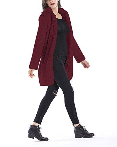 Caliente La Larga Las Parka Top Forme Outwear Mujeres Vino A Cardigan Chaqueta El Tinto Coat Señoras Invierno Abrigo De pp7XAvq0