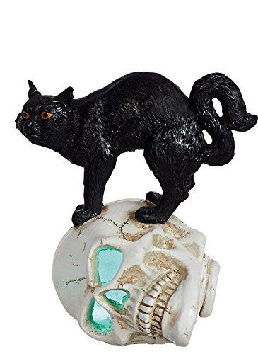 [Color-Changing Lighted Black Cat on Skull Halloween Decoration (Standing)] (Skeleton Costume Pose)