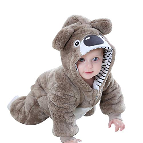 PAUBOLI Koala Bear Costume Baby Boys Girls Bear Hoodie Flannel Jumpsuit (6-12 Months, -