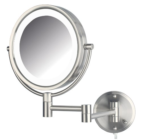 ch LED Lighted Wall Mount Makeup Mirror with 8x Magnification, Nickel Finish ()