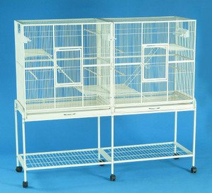 New Large Wrought Iron Double Cage w/ Slide Out Divider 3 Levels Ferret Chinchilla Sugar Glider Cage 61″Length x 18″Depth x 56″Height W/Stand on Wheels *Egg Shell White*
