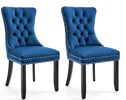 High Back Velvet Navy Tufted Upholstered Dining Chairs, Set of 2, Solid Wood – Nail Trim, Ring