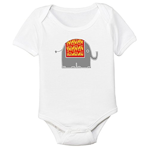 Indian Elephant Organic Cotton Baby Bodysuit - Pakistani Images New